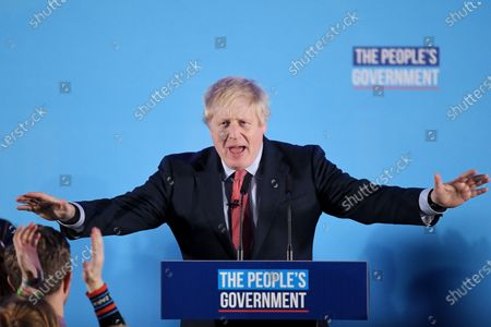 Stockfoto von Prime Minister Boris Johnson delivers a victory speech to Tory party members, workers and activists, after winning the 2019 General Election at the Queen Elizabeth II Centre, London.