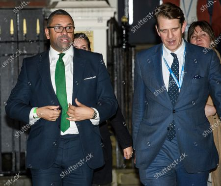 Stock Picture of Conservative party co-chairmen James Cleverly and Ben Elliot leaves Conservative Campaign Headquarters, London after the Conservative party achieved a majority in the General Election.