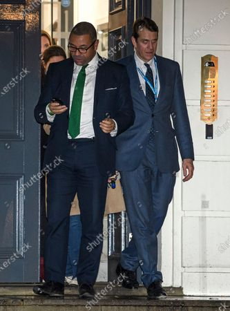 Conservative party co-chairmen James Cleverly and Ben Elliot leaves Conservative Campaign Headquarters, London after the Conservative party achieved a majority in the General Election.
