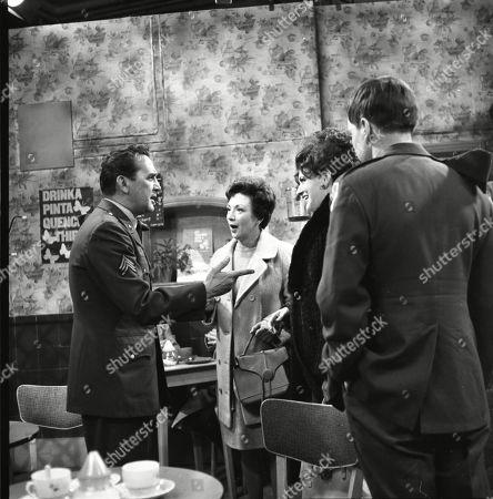 Bill Nagy (as Gregg Flint), Joan Francis (as Dot Greenhalgh), Pat Phoenix (as Elsie Tanner) and Callen Angelo (as Gary Strauss)