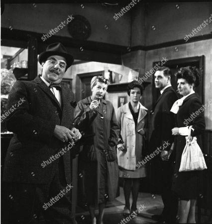 Reginald Marsh (as Dave Smith), Jean Alexander (as Hilda Ogden), Joan Francis (as Dot Greenhalgh), Paul Maxwell (as Steve Tanner) and Pat Phoenix (as Elsie Tanner)