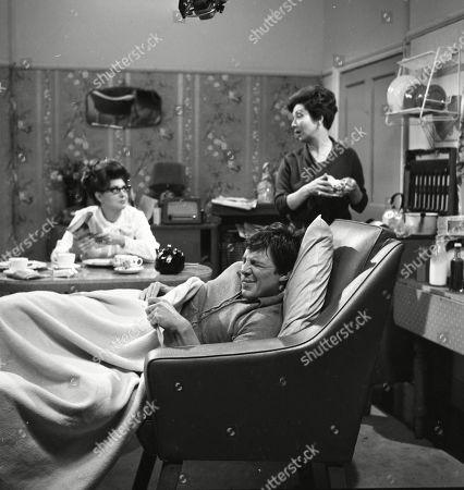 Pat Phoenix (as Elsie Tanner), Philip Lowrie (as Dennis Tanner) and Joan Francis (as Dot Greenhalgh)