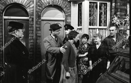 Stock Picture of Violet Carson (as Ena Sharples), Eve Pearce (as Betty Lawson), Jennifer Moss (as Lucille Hewitt), Margot Bryant (as Minnie Caldwell) and Bernard Youens (as Stan Ogden)