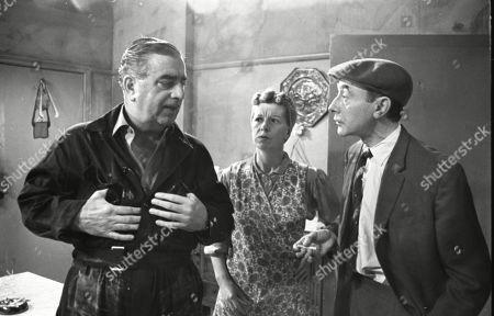 Bernard Youens (as Stan Ogden), Jean Alexander (as Hilda Ogden) and Reginald Barratt (as Billy Jump)