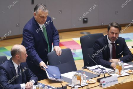 (L-R) Maltese Prime Minister Joseph Muscat, Hungarian Prime Minister Viktor Orban and Luxemburg Prime Minister Xavier Bettel at the start of the second day of the European Council summit in Brussels, Belgium, 13 December 2019. EU leaders gathered in Brussels on 12 and 13 December to discuss climate change, the EU's long-term budget and external relations, the economic and monetary union and Brexit, among other issues.