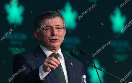 Former Turkish prime minister Ahmet Davutoglu speaks during the presentation of the newly established Gelecek Party (Future Party) in Ankara, Turkey, 13 December 2019.  Davutoglu, who served as prime minister from 2014 to 2016 under Turkish President Erdogan's ruling Justice and Development Party (AK Party), announced the formation of the new breakaway conservative party to challenge Erdogan after his resignation from the AK Party in September 2019.