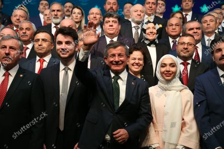 Former Turkish prime minister Ahmet Davutoglu (front-C) and founding members of the Gelecek Party pose for media during the presentation of the newly established Gelecek Party (Future Party) in Ankara, Turkey, 13 December 2019.  Davutoglu, who served as prime minister from 2014 to 2016 under Turkish President Erdogan's ruling Justice and Development Party (AK Party), announced the formation of the new breakaway conservative party to challenge Erdogan after his resignation from the AK Party in September 2019.