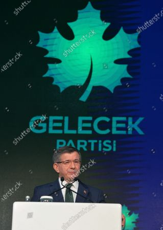 Stock Picture of Former Turkish prime minister Ahmet Davutoglu speaks during the presentation of the newly established Gelecek Party (Future Party) in Ankara, Turkey, 13 December 2019.  Davutoglu, who served as prime minister from 2014 to 2016 under Turkish President Erdogan's ruling Justice and Development Party (AK Party), announced the formation of the new breakaway conservative party to challenge Erdogan after his resignation from the AK Party in September 2019.