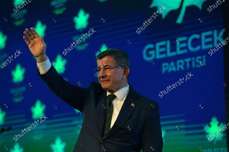 Former Turkish prime minister Ahmet Davutoglu greets to his supporters during the presentation of the newly established Gelecek Party (Future Party) in Ankara, Turkey, 13 December 2019.  Davutoglu, who served as prime minister from 2014 to 2016 under Turkish President Erdogan's ruling Justice and Development Party (AK Party), announced the formation of the new breakaway conservative party to challenge Erdogan after his resignation from the AK Party in September 2019.