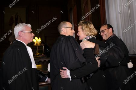 Stock Picture of Delphine Boel, her lawyers and Marc Uyttendaele in court on the decision on the appeal of King Albert II against two judgments of the Brussels Court of Appeal
