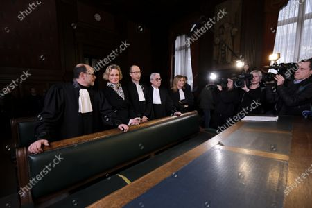 Delphine Boel, her lawyers and Marc Uyttendaele in court on the decision on the appeal of King Albert II against two judgments of the Brussels Court of Appeal