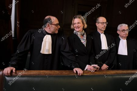 Stock Photo of Delphine Boel, her lawyers and Marc Uyttendaele in court on the decision on the appeal of King Albert II against two judgments of the Brussels Court of Appeal