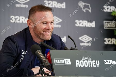 Wayne Rooney, Derby County,  faces the press at Pride Park