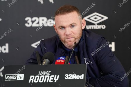 Stock Photo of Wayne Rooney, Derby County,  faces the press at Pride Park