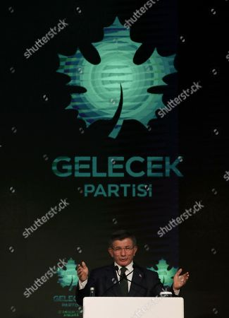 """Stock Photo of Former Turkish Prime Minister Ahmet Davutoglu addresses his supporters after he launched """"The Future Party,"""" a splinter party to rival President Recep Tayyip Erdogan, in Ankara, Turkey, . Davutoglu pledged a return to a parliamentary democracy and to expand rights and freedoms"""