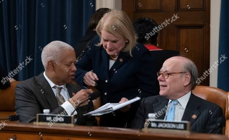 Sylvia Garcia, Hank Johnson, Steve Cohen. Rep. Sylvia Garcia, D-Texas, center, flanked by Rep. Hank Johnson, D-Ga., left, and Rep. Steve Cohen, D-Tenn., right, prepares for the House Judiciary Committee vote on two articles of impeachment against President Donald Trump, on Capitol Hill in Washington