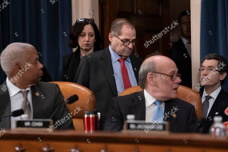 Stock Picture of Jerrold Nadler, Hank Johnson, Steve Cohen. House Judiciary Committee Chairman Jerrold Nadler, D-N.Y., flanked by Rep. Hank Johnson, D-Ga., left, and Rep. Steve Cohen, D-Tenn., right, arrives to lead the vote on two articles of impeachment against President Donald Trump, on Capitol Hill in Washington
