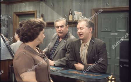 Betty Turpin is terrorised by Keith Lucas. David Webb as Keith Lucas, Bernard Youens as Stan Ogden and Betty Driver as Betty Turpin