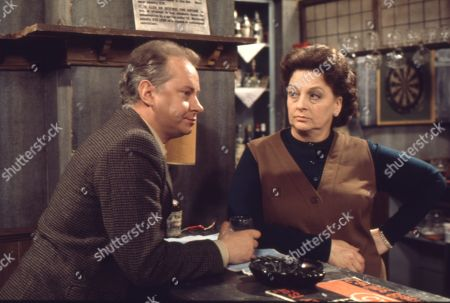 Betty Turpin is terrorised by Keith Lucas. David Webb as Keith Lucas and Betty Driver as Betty Turpin