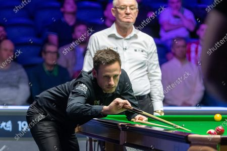 Stock Picture of Action the opening frames of the Quarter Final match David Gilbert vs Judd Trump during the 19.com Home Nations Scottish Open at the Emirates Arena, Glasgow