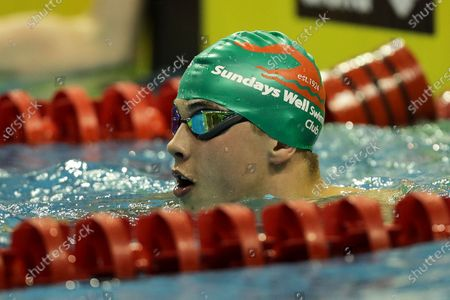 Stock Image of Male 50m Butterfly 'B' Final. Paul Higgins after winning his race