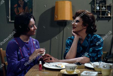 Jennifer Moss (as Lucille Hewitt) and Pat Phoenix (as Elsie Howard)