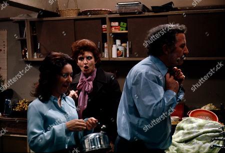 Jennifer Moss (as Lucille Hewitt), Pat Phoenix (as Elsie Howard) and Alan Browning (as Alan Howard)