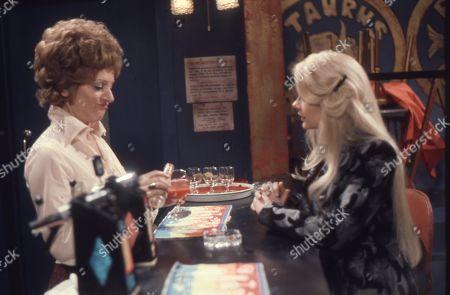 Barbara Knox (as Rita Littlewood) and Linda Cunningham as Lorraine Binks