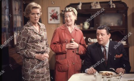 Irene Sutcliffe (as Maggie Clegg), Jean Alexander (as Hilda Ogden) and Bryan Mosley (as Alf Roberts)