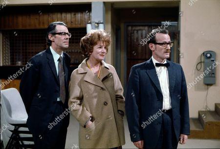 Stephen Hancock (as Ernest Bishop), Jean Alexander (as Hilda Ogden) and Ted Morris (as Ted Loftus)