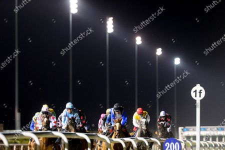 DUNDALK. Eventual winner OZONE and Mikey Sheehy (2nd left) leading up the home straight with a circut to race under the floodlights at the County Louth all weather venue for trainer Joseph O'Brien.