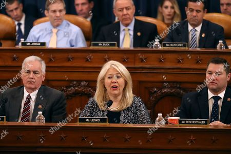 WASHINGTON, DC - DECEMBER 13: House Judiciary Committee member Rep. Debbie Lesko (R-AZ) (C) votes against the first of two articles of impeachment against U.S. President Donald Trump during the final moments of a hearing in the Longworth House Office Building on Capitol Hill in Washington, DC. The articles charge Trump with abuse of power and obstruction of Congress. House Democrats claim that Trump posed a 'clear and present danger' to national security and the 2020 election based on his dealings with Ukraine