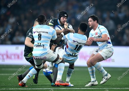 Stock Picture of Morgan Morris of Ospreys is tackled by Ben Volavola of Racing 92.