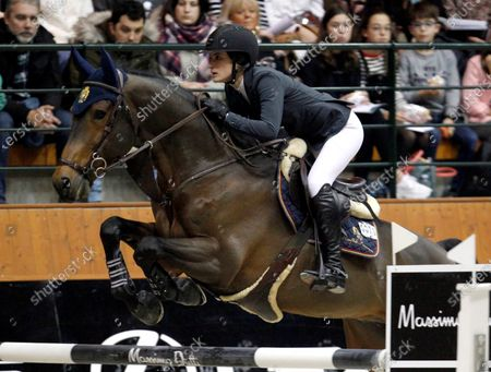 Stock Photo of Jessica Springsteen of the USA, daughter of musician Bruce Springsteen and Patti Scialfa, during a practice of 39th International Jumping Contest competition at Casas Novas in Arteixo, northwest Spain, 13 December 2019.