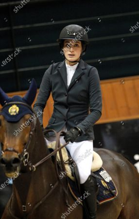 Jessica Springsteen of the USA, daughter of musician Bruce Springsteen and Patti Scialfa, during a practice of 39th International Jumping Contest competition at Casas Novas in Arteixo, northwest Spain, 13 December 2019.