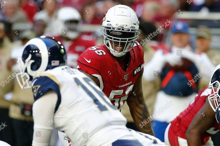Arizona Cardinals outside linebacker Terrell Suggs (56) lines up against the Los Angeles Rams during the first half of an NFL football game in Glendale, Ariz. The Cardinals have released the veteran linebacker, with three games remaining in a disappointing season for both the player and the team