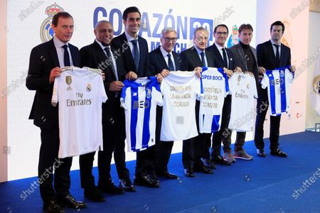 (L-R); Director of Institutional Relations of Real Madrid, Emilio Butragueno, former Real Madrid's former players Roberto Carlos, Alvaro Arbeloa, Oporto's vice president Alipio Jorge Fernandes, Real Madrid's president Florentino Perez, former Oporto's player Fernando Gomes, and former Real Madrid's players Rafael Martin Vazquez and Santiago Hernan Solari; pose for the photographers during the presentation of 11th Corazon Classic Match between Real Madrid Legends vs. FC Porto Vintage at Santiago Bernabeu stadium in Madrid, Spain, 13 December 2019. Real Madrid Legends will face FC Porto Vintage during a friendly match at 29 March 2020.