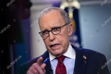 Director of the National Economic Council Larry Kudlow speaks during a television interview in the James S. Brady Press Briefing Room at the White House in Washington