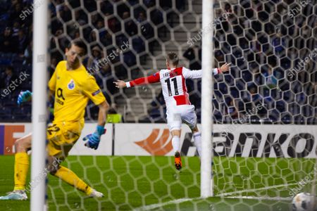 Feyenoord's Sam Larsson celebrates a goal