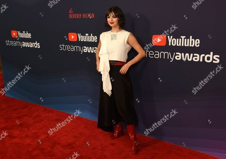 Rebecca Black poses at the 2019 Streamy Awards at the Beverly Hilton, in Beverly Hills, Calif