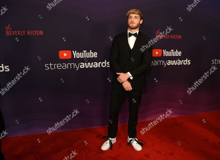 Stock Picture of YouTube personality Logan Paul poses at the 2019 Streamy Awards at the Beverly Hilton, in Beverly Hills, Calif