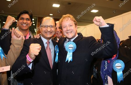 Stock Photo of Paul Bristow (Conservative), celebrates North West Cambridgeshire's Shailesh Vara.