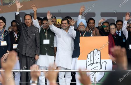 Indian National Congress party member Priyanka Gandhi (L, front), Congress President Sonia Gandhi (R, front), former Indian Prime Minister Manmohan Singh (C-R) and Congress party leader Rahul Gandhi (C) wave at supporters during the anti-government Bharat Bachao (Save India) rally at Ramlila Maidan in New Delhi, India, 14 December 2019.