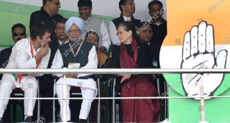Indian National Congress President Sonia Gandhi (R, front), former Indian Prime Minister Manmohan Singh (C, front) and Indian National Congress party leader Rahul Gandhi (L, front) attend the anti-government Bharat Bachao (Save India) rally at Ramlila Maidan in New Delhi, India, 14 December 2019.