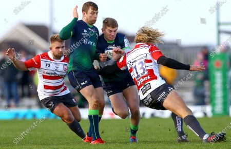 Connacht vs Gloucester. Connacht's Jack Carty and Conor Fitzgerald with Billy Twelvetrees of Gloucester