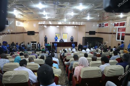 Stock Photo of A general view over the courtroom as Sudan's ousted president Omar Hassan al-Bashir sits in the defendant's cage during his trial in Khartoum, Sudan, 14 December 2019. A Sudanese court in Khartoum on 14 December 2019 found former president al-Bashir guilty of money laundering and sentenced him to two years in rehabilitation facility. The verdict is the first in several cases against al-Bashir who was ousted in April 2019 after some 30 years in power.