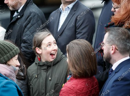 Mhairi Black (2-L) joins the Scottish National Party SNP's newly elected MPs gathering for a group photo outside the V&A Museum in Dundee, Scotland, Britain, 14 December 2019.
