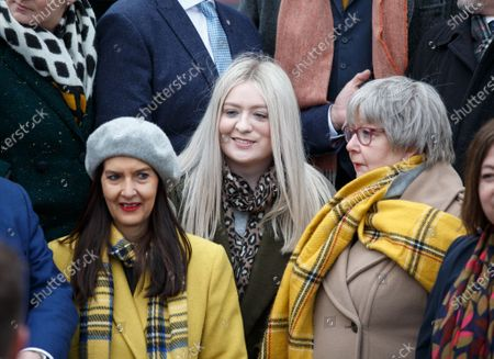 Amy Callaghan (C) who won the East Dunbartonshire seat from Liberal Democrat leader Jo Swinson joins the Scottish National Party SNP's newly elected MPs gathering for a group photo outside the V&A Museum in Dundee, Scotland, Britain, 14 December 2019.