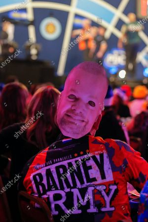 Raymond van Barneveld (Netherlands) fan during his First Round match against Darin Young (USA) (not in picture), evening session of Day Two in the PDC William Hill World Darts Championship at Alexandra Palace, London