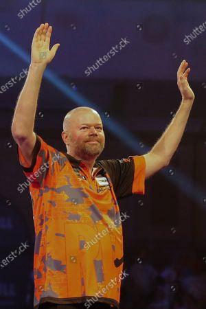 Raymond van Barneveld (Netherlands), before his First Round match against Darin Young (USA) (not in picture), evening session of Day Two in the PDC William Hill World Darts Championship at Alexandra Palace, London